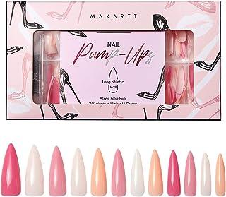 Makartt Acrylic Nail Kit, Press On Nails Set 240pcs Long Stiletto Nail Tips Full Cover Nude 4pcs Nail Glues 1pcs Nail File...