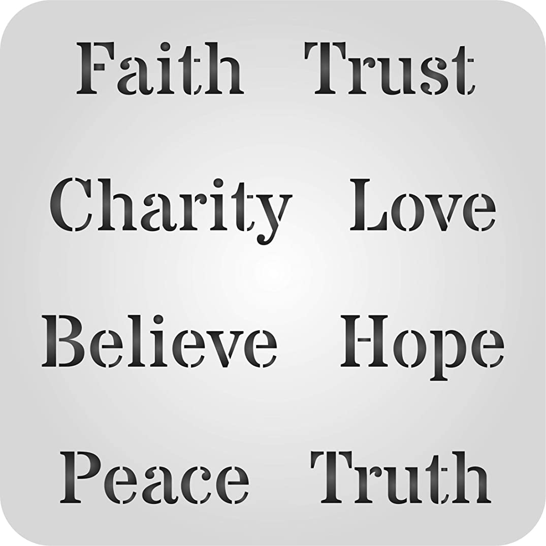 "Words of Faith Stencil - (Size 5""w x 5""h) Reusable Wall Stencils for Painting Wording Words and Quote Ideas - Use on Walls, Floors, Fabrics, Glass, Wood, and More…"