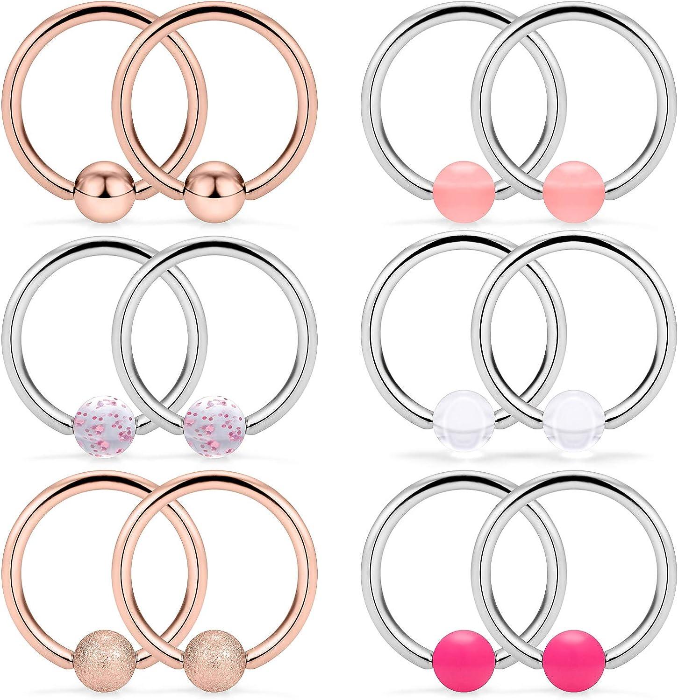SCERRING 6 Pairs 16G Regular dealer Stainless Omaha Mall Steel Nipple Captive Bead Ri Ring