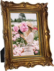 PHAREGE 5x7 Vintage Bronze Gold Picture Frame, 5 by 7 Ornate Antique Picture Frame for Wedding, Retro Photo Frame Displays Horizontally or Vertically On Tabletop