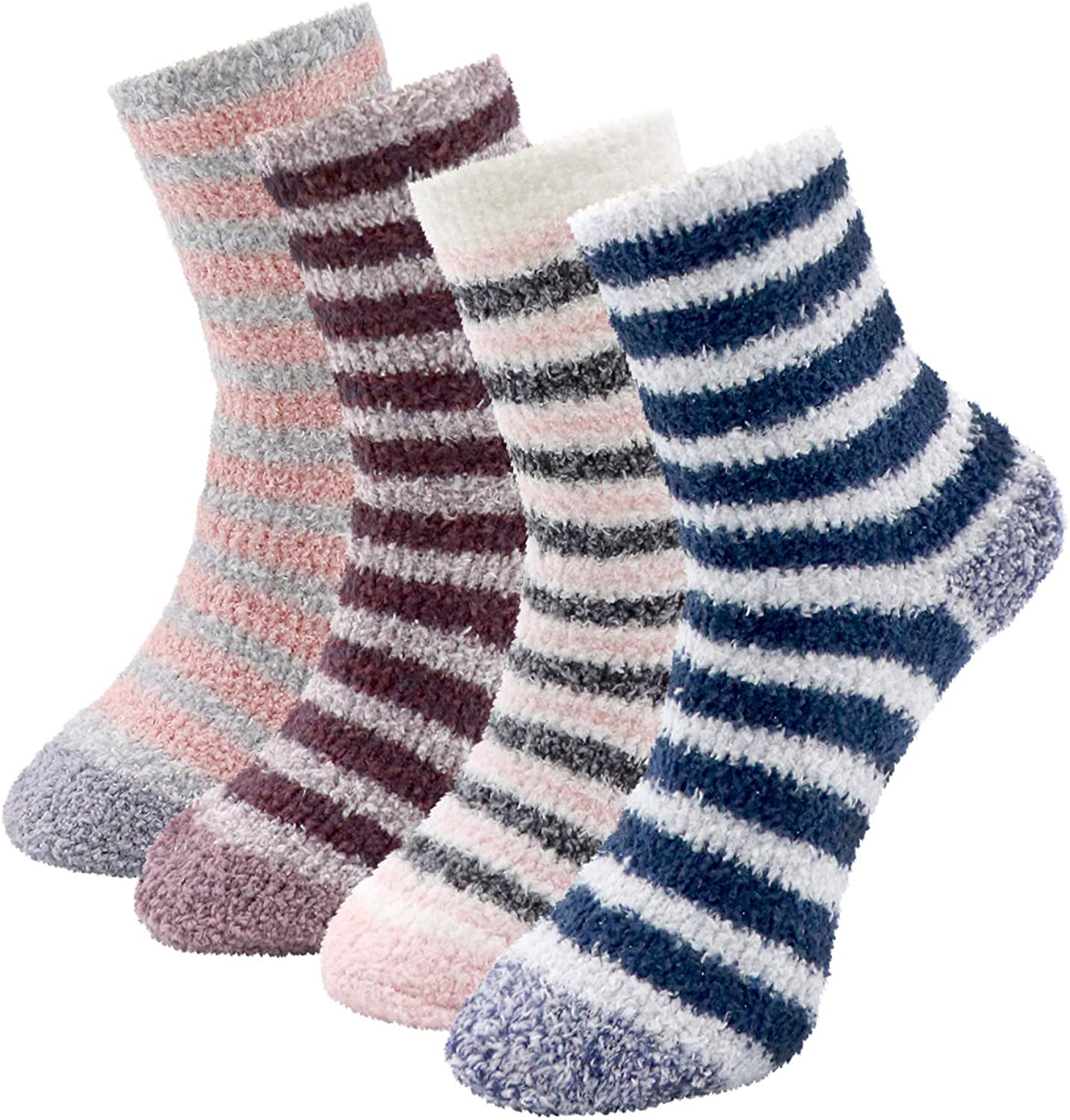 DICUIRD Fuzzy Socks for Women Winter Warm Soft Fluffy Socks for Home Sleeping Indoor Thick Cozy Plush Sock, 4 Pairs