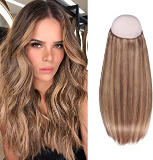 Sixstarhair Halo Hair Extensions Human Hair 16inch Premium Virgin Hair Highlight Chestnut Brown with Light Golden Brown Hidden Hair Extensions at Crown 100g per Pack [16inch P6-12]