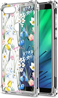 Oihxse Cristal Compatible con Samsung Galaxy J8 2018 Funda Transparente TPU Silicona Estuche Airbag Esquinas Anti-Choque Anti Rasguños Diseño Rosa Flower Caso (Flores A1)