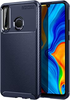 MoKo Compatible with Huawei P30 Lite Case, Soft Flexible TPU Bumper Anti-Scratch Slim Fit Case Lightweight Shockproof Cover with Beetle Shape Design and Twill Style Fit with Huawei P30 Lite - Blue