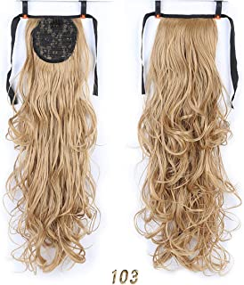 Long Wavy Heat Resistant Synthetic Ponytail Drawstring Fake Hair Extensions Black Brown 7 Colors,103,26Inches