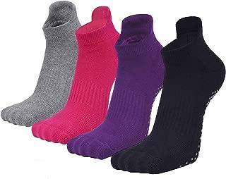 Sticky Socks for Women Barre Gripper, Elutong 4 Pack Non Slip Yoga Pilates Socks
