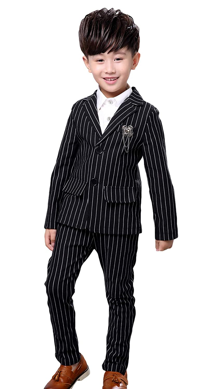 EOZY 男の子 フォーマル ボーイズ スーツ 子供服 結婚式 演奏会 発表会 2点セット ジャケット ズボン 洋服 おしゃれ ストライプ柄