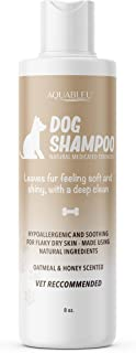Aquableu Natural Dog Shampoo – Sweet Honey and Colloidal Oatmeal – Safe and Effective for Dogs with Dry Skin - Heals, Prot...