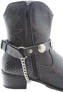Trendy Fashion Jewelry TFJ Men Biker Boot Bracelets Black Leather Straps Silver Chains Native Amrican Indian