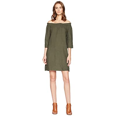 Allen Allen Ruffle Edge Linen Dress (Cilantro) Women