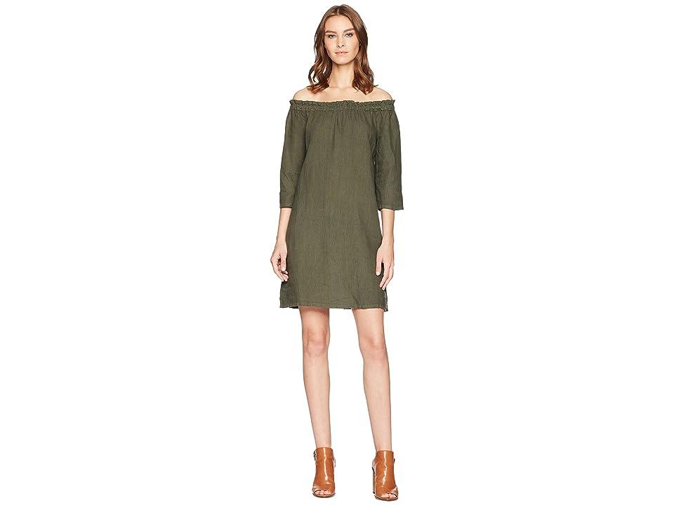 Allen Allen Ruffle Edge Linen Dress (Cilantro) Women