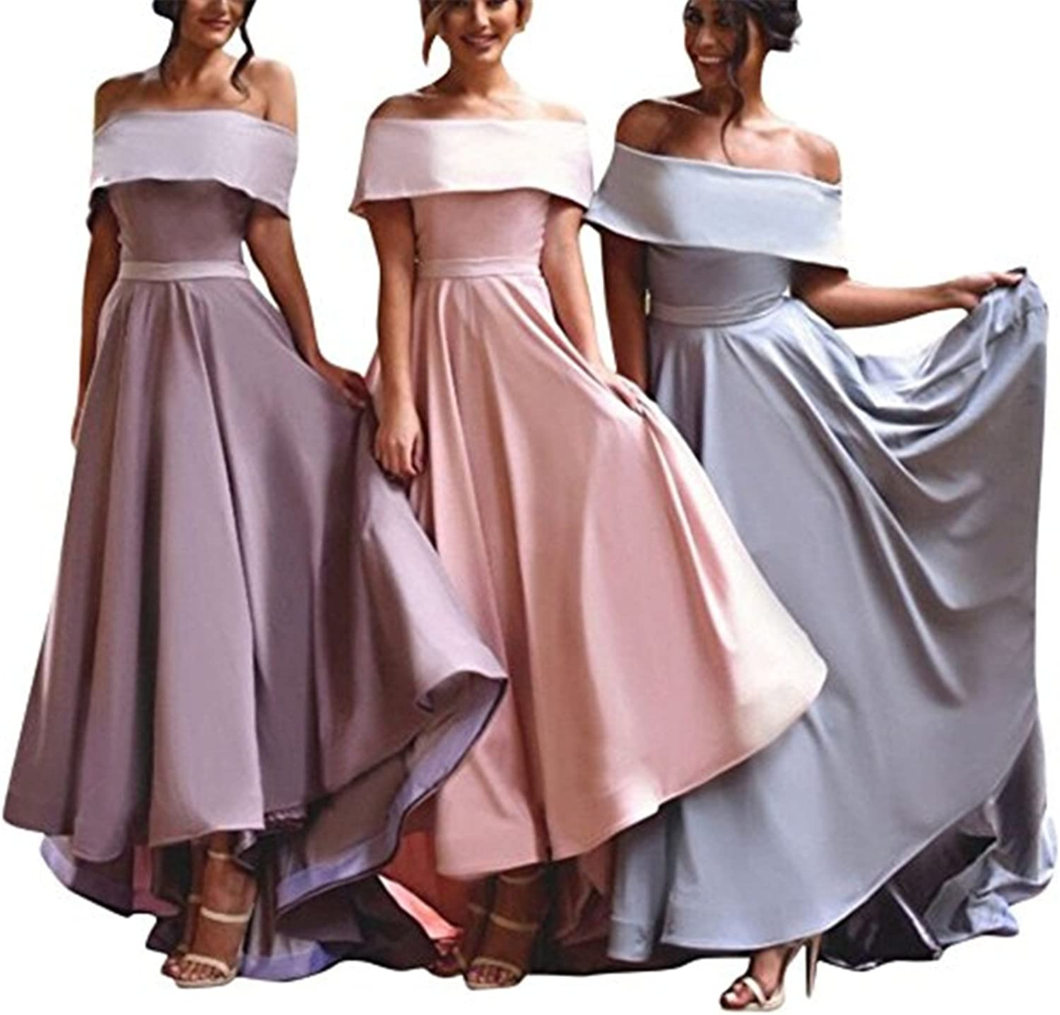 Homdor High Low Bridesmaid Dress Off Shoulder Satin Prom Evening Gown for Women