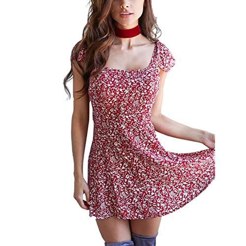 1f8403a904 Simplee Women's Boho Floral Print Off Shoulder Backless Mini Beach Dress