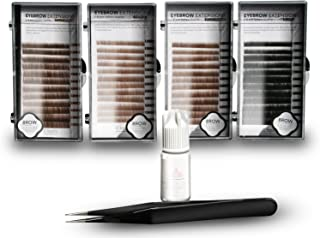 Eyebrow Extension Kit with Eyebrow Extension Glue Clear with Mink Eyebrows In Light Brown, Brown, Dark Brown, Black, Comes on Mixed Length Trays 5-8 mm mix & Extension Tweezers by KC Republic