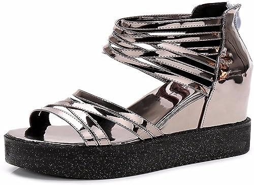 HBDLH HBDLH Chaussures pour Femmes Les Pentes élevées en été Et des Sandales Haut-Perchée Trampoline Rome Muffin des Chaussures Chaussures épaisses  font des activités d'escompte
