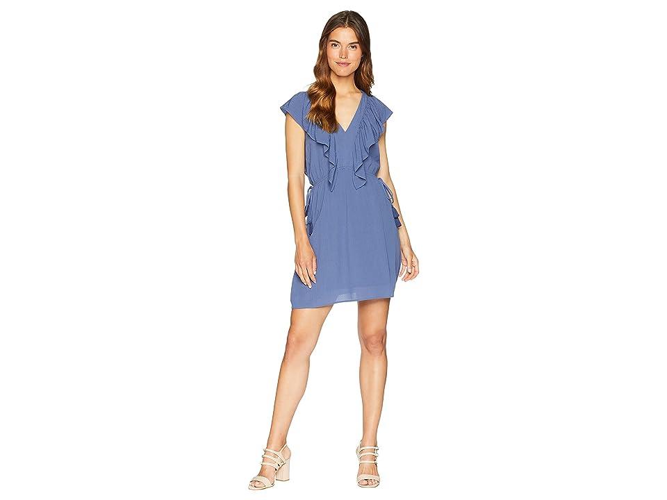 1.STATE V-Neck Ruffle Edge Dress with Ties (Moon Shade) Women