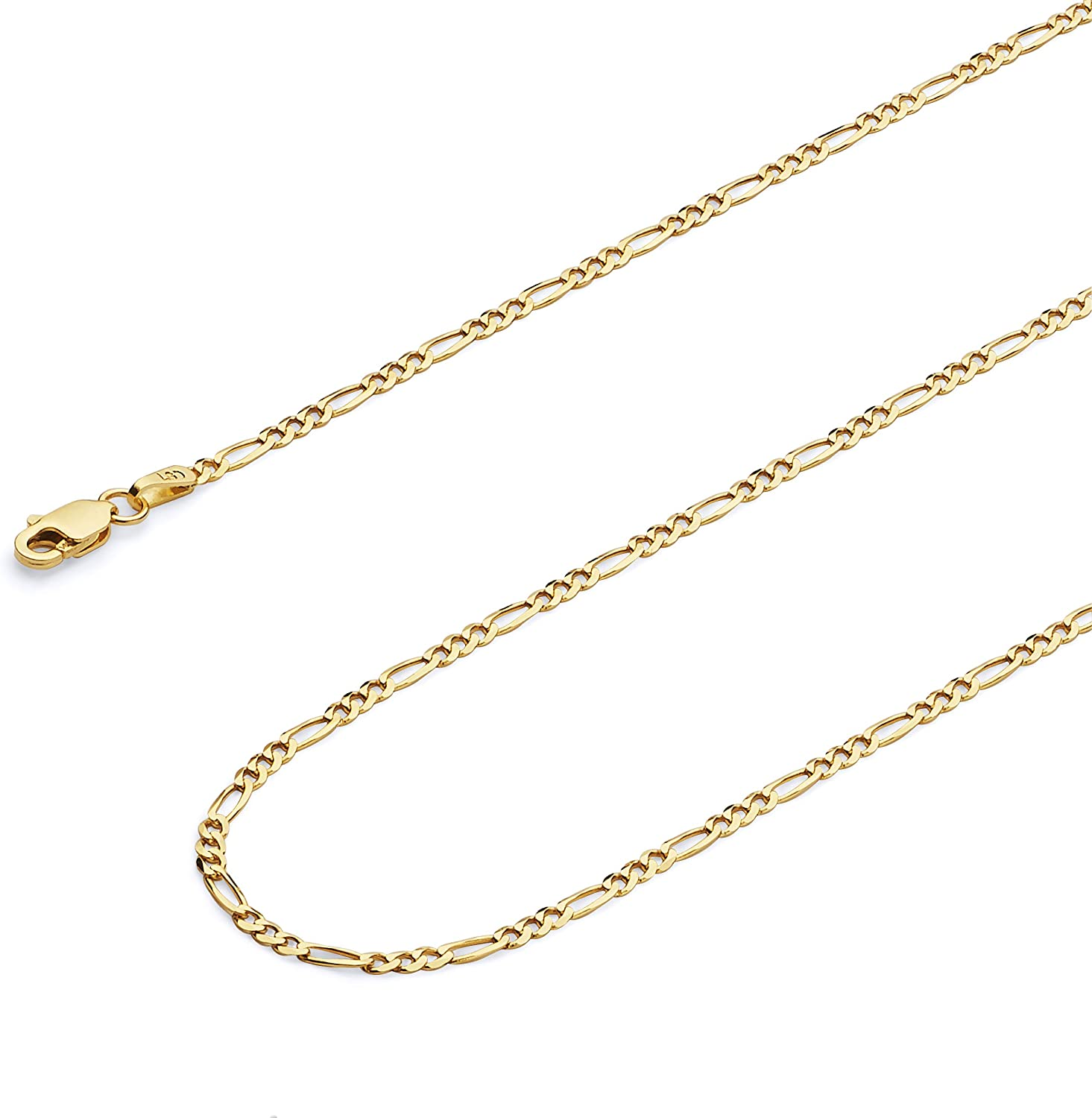 Wellingsale 14k Yellow Gold Solid 2mm Figaro Chain Necklace with Lobster Claw Clasp