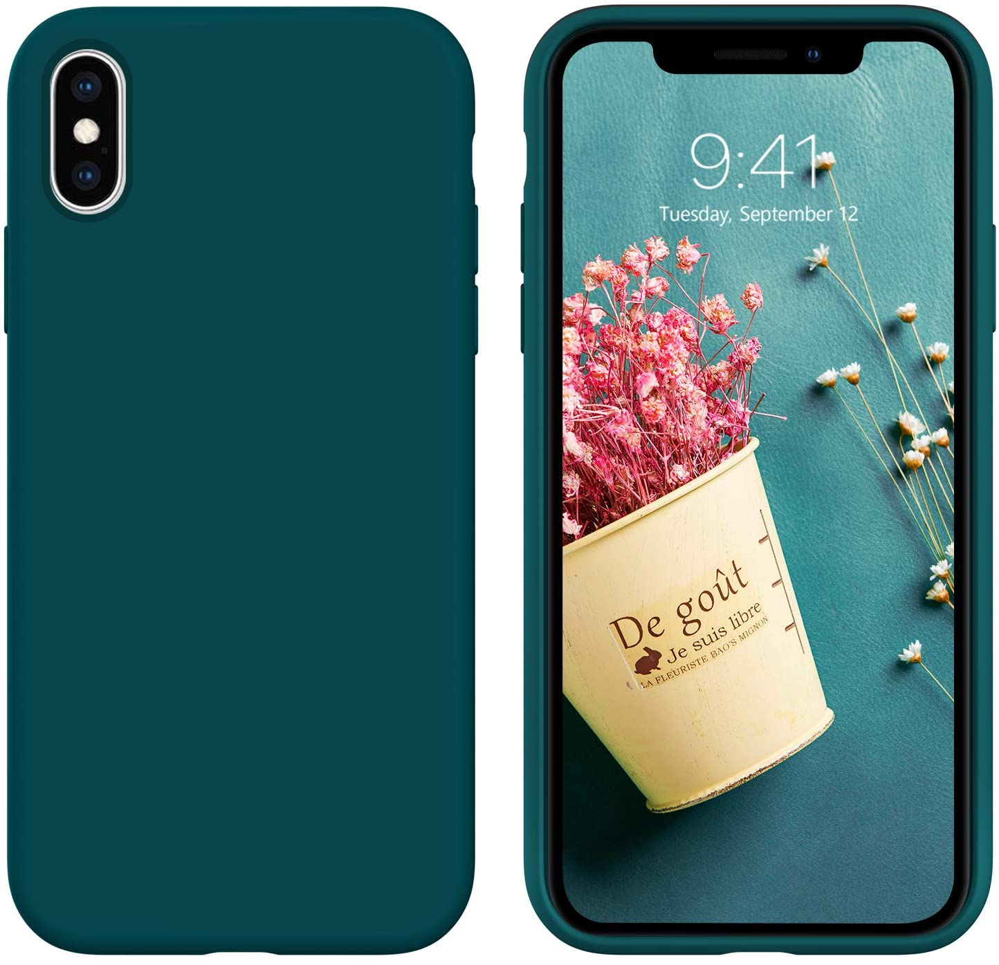 iPhone Xs Case,iPhone X Case,DUEDUE Liquid Silicone Soft Gel Rubber Slim Cover with Microfiber Cloth Lining Cushion Shockproof Full Body Protective Anti Scratch Case for iPhone X/iPhone Xs, Teal