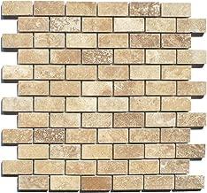 Walnut 1x2 Honed Filled Travertine Mosaic Tile Floor Wall Backsplash
