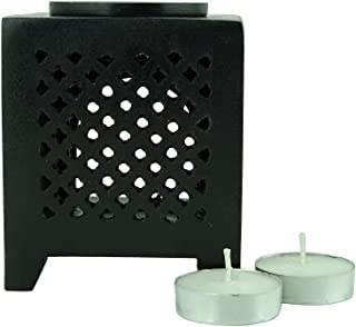 Karguzzari Marble Soapstone Candle Aroma Oil Diffuser Tea Light Oil Warmer T Light Aroma Oil Burner Essential Oil Lamp Aromatherapy Diffuser Natural Marble MXR-3 (Square Jaali Black)