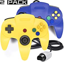 Joxde 2 Packs Upgraded Joystick Classic Wired Controllers N64 Gamepad Console (Yellow Blue)