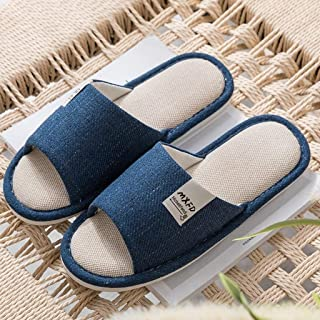 BBJOZ Linen Home Slippers Indoor Slippers Sweat-Absorbent Breathable Toughness Good Non-Slip Washable Bath Slippers (Color : Blue, Size : 42-43)
