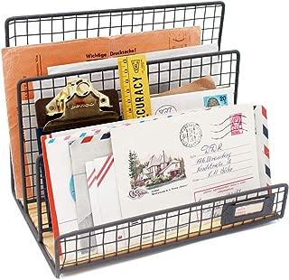 Office Desktop 3 Slot File Letter Magazine Folder Document Tray - Desktop Mail Sorter Organizer Rack - Rustic Industrial Style