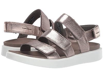 ECCO Flowt 3 Strap Sandal (Warm Grey Metallic Cow Leather) Women