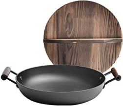 XXDTG Flat Bottom Wok - Wok Frying Pan Less Fume Cast Iron Double Ear Round Bottom Wok (Wood Cover) 32cm (Color : Black)
