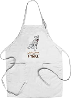 Pitbull - White - Life is Better - White Background (Cotton/Polyester Chef's Apron)