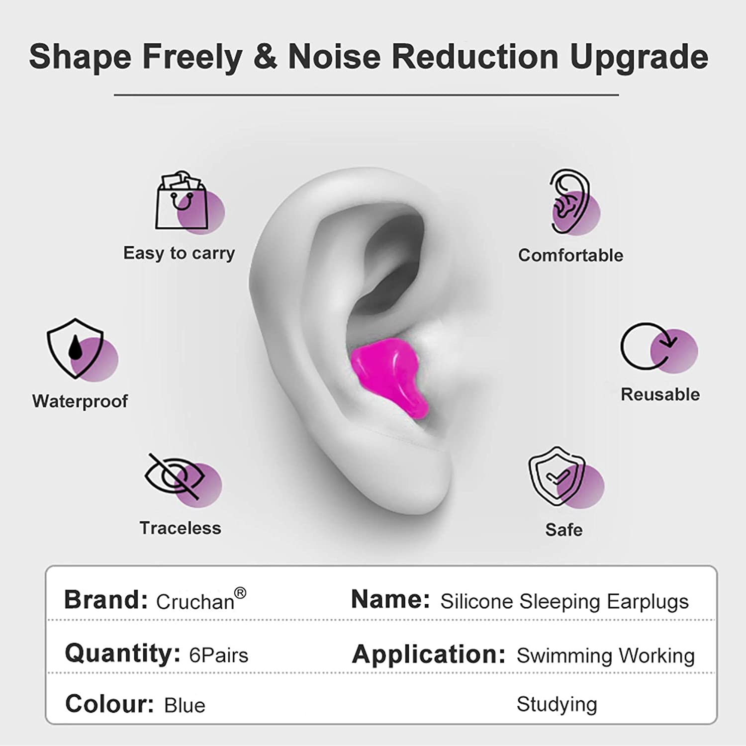 Ear Plugs Travel Loud Noise Work 6 Pairs Soft Reusable Moldable Silicone Earplugs Swimming Studying Concerts for Sleeping Noise Canceling Great for Snoring