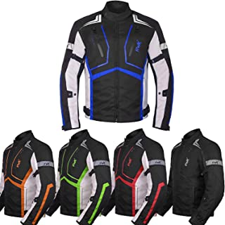 Motorcycle Jacket For Men Textile Motorbike Dualsport Enduro Motocross Racing Biker Riding CE Armored Waterproof All-Weather (Blue, XXXXX-Large)