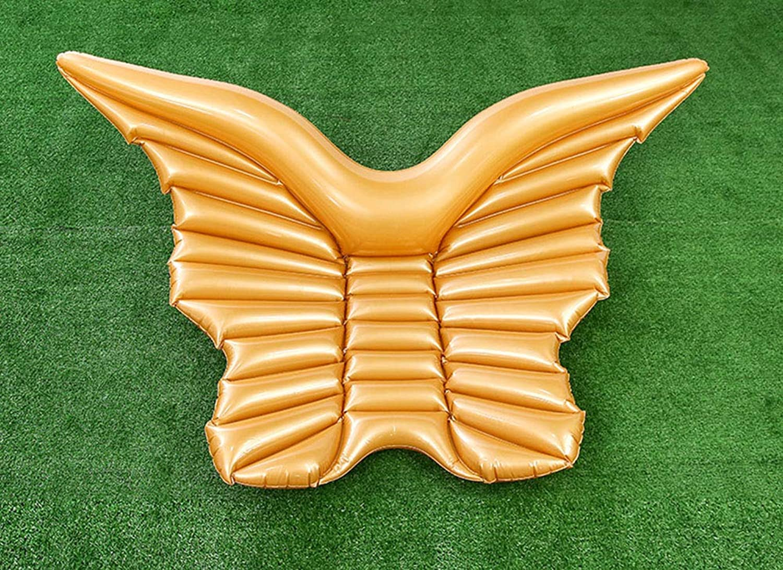 インフレータブルボートミニ天使の羽行ポータブルバタフライフローティングベッド水泳リングシーサイドホリデーラウンジチェア屋外レジャービーチワタリ,ゴールド