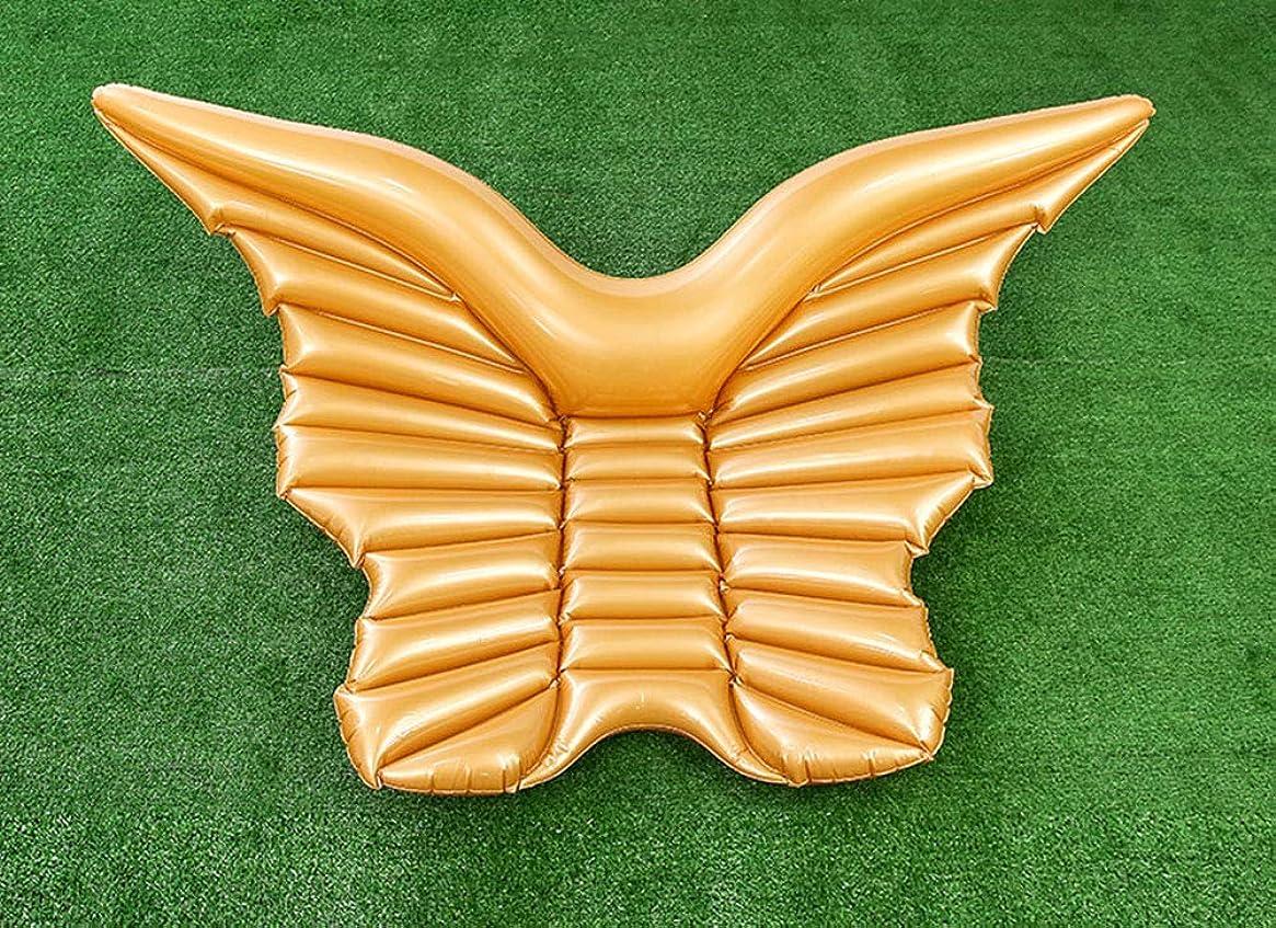 守るナサニエル区減るインフレータブルボートミニ天使の羽行ポータブルバタフライフローティングベッド水泳リングシーサイドホリデーラウンジチェア屋外レジャービーチワタリ,Gold