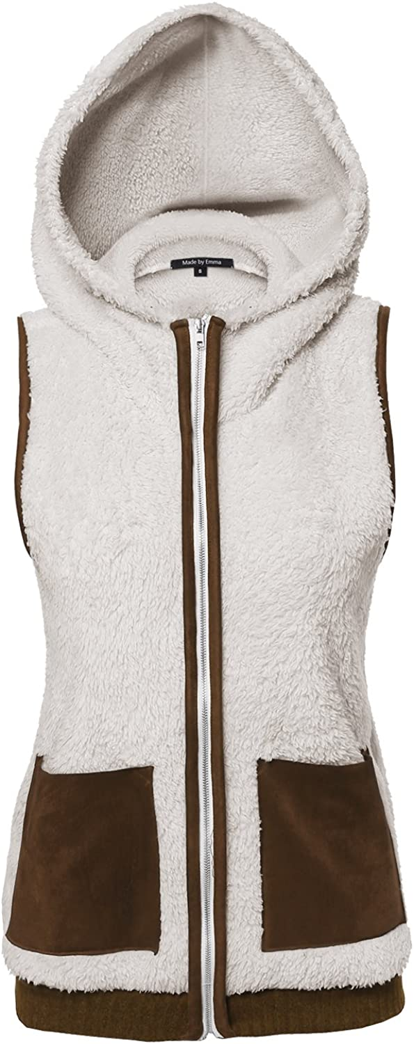 Made by Emma MBE Women's Soft Fur Drape Front Vest with Checkered Pockets