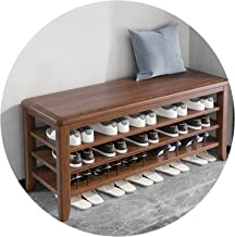 JIANFEI Schoenenrek bank, massief houten frame schoen organizer plank voor thuis hal entryway woonkamer, verstelbare schei...