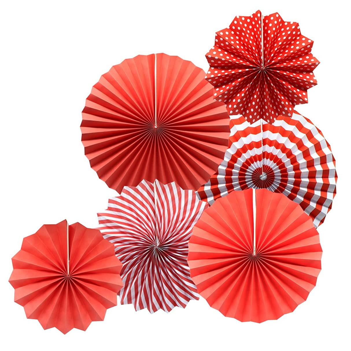 (Red) - Party Hanging Paper Fans Set, Red Round Pattern Paper Garlands Decoration for Birthday Wedding Graduation Events Accessories, Set of 6