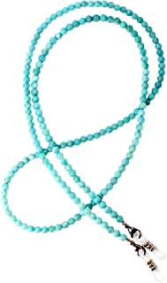 Eyeglasses Holder Gemstone Beaded Chain Retainer for Sunglasses Necklace Agate Amazonite Pearl Coral Ametiste Jasper RC (Blue Amazonite)