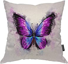 Moslion Butterfly Pillows Watercolor Animal Bird Magical Fantasy Butterflies Throw Pillow Cover Decorative Pillow Case Square Cushion Accent Canvas Cotton Linen Home 18x18 Inch Purple Black