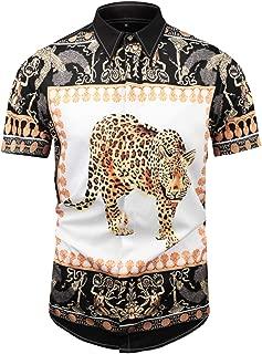 PIZOFF Men's Short Sleeve Luxury Print Button Dress Shirt