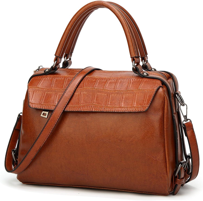 DALFR Leather Top Handle Tan Tote Purse Bag for Women Oversise Designer Handbag