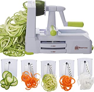 Brieftons 5-Blade Spiralizer (BR-5B-02): Strongest-and-Heaviest Duty Vegetable Spiral..