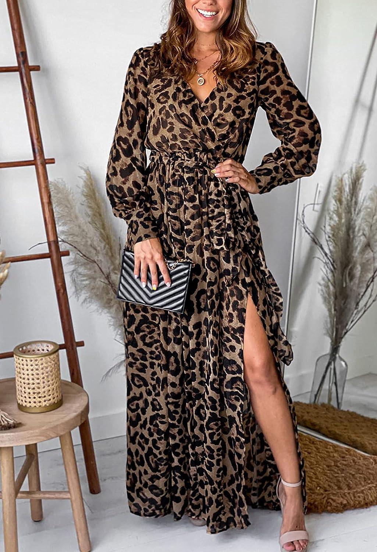 Meenew Women's Summer Maxi Dress Party Vacation High Slit Loose Long Beach Dress