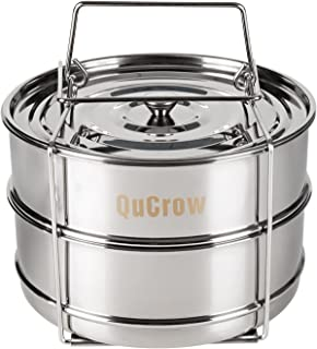 QuCrow Stackable Steamer Insert Pan with Sling - Stainless Steel Food Steamer for 6/8 Qt Pressure Cooker – Instant Pot Accessary