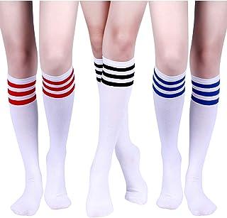 Tatuo, 3 Pares de Calcetines a Rayas Triples Clásicos Calcetines Altos de Mulso Rodilla Calcetines de Tubo de Algodón Suave de Mujeres para Disfraz, 3 Colores
