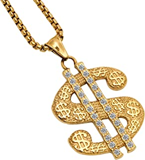 Gold Necklace Chain with Dollar Sign, 18K Gold Plated Hip Hop Chain Necklace Pendant for Men, 30inch