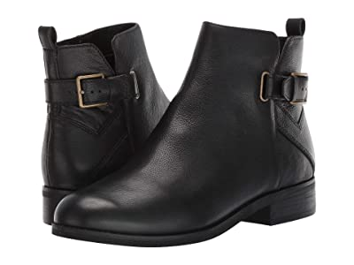 Cole Haan Hollyn Bootie (Black Tumbled Leather/Black Raw Stack/Antique Brass Hardware) Women