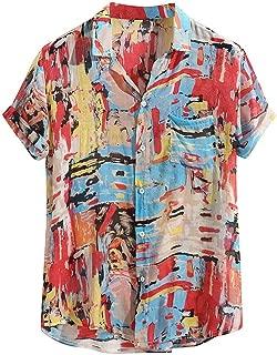 Cebbay Camisa Hawaiana Florar Casual Manga Corta Ajuste Regular para Hombre de Manga Corta con Cuello Redondo Y Estampado Floral de Manga Corta con Botones