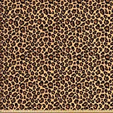 ABAKUHAUS Estampado De Leopardo Tela por Metro, Exótico Africano, Decorativa para Tapicería y Textiles del Hogar, 1M (148x100cm), Anaranjado Pálido Negro