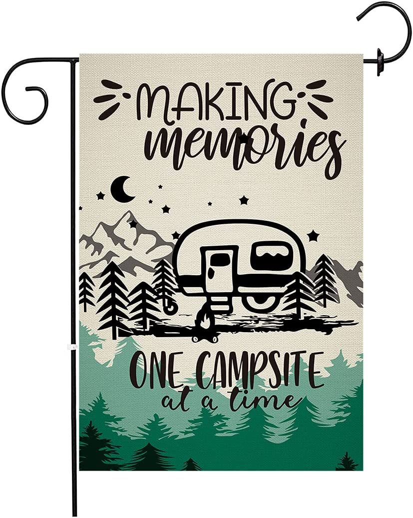 chengxun Making Memories Camping Trailer Tree Garden Flag Vertical Double Sided, One Campsite At A Time Fire Pit Yard Outdoor Burlap Flag Decoration 12.5×18 inches